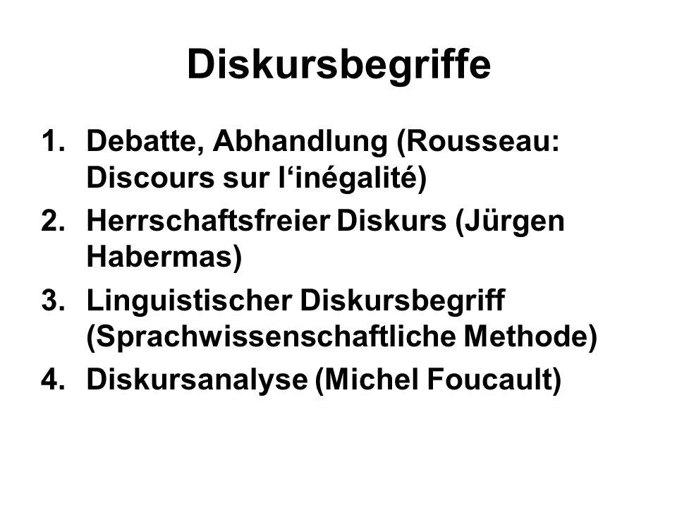 Diskursbegriffe 1.Debatte, Abhandlung (Rousseau: Discours sur linégalité) 2.Herrschaftsfreier Diskurs (Jürgen Habermas) 3.Linguistischer Diskursbegrif