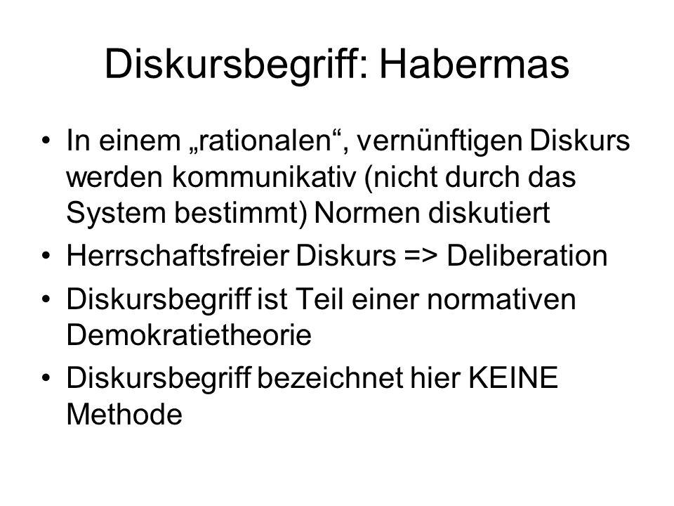 Diskursbegriff: Habermas In einem rationalen, vernünftigen Diskurs werden kommunikativ (nicht durch das System bestimmt) Normen diskutiert Herrschafts