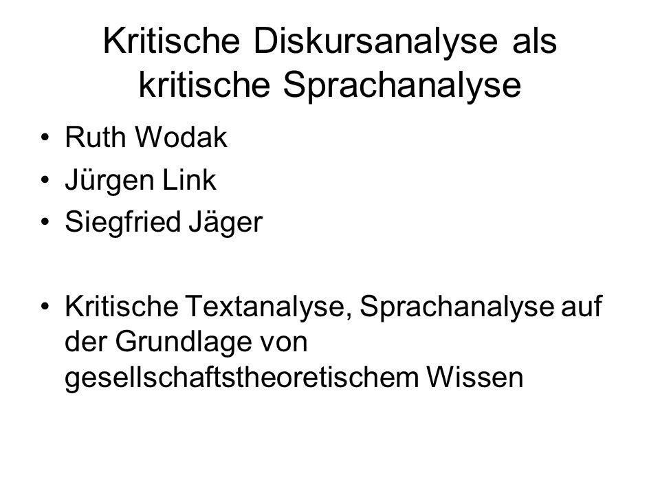 Kritische Diskursanalyse als kritische Sprachanalyse Ruth Wodak Jürgen Link Siegfried Jäger Kritische Textanalyse, Sprachanalyse auf der Grundlage von