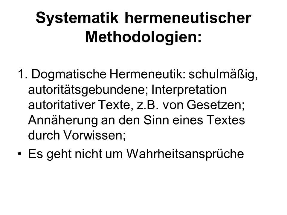 Systematik hermeneutischer Methodologien: 1. Dogmatische Hermeneutik: schulmäßig, autoritätsgebundene; Interpretation autoritativer Texte, z.B. von Ge