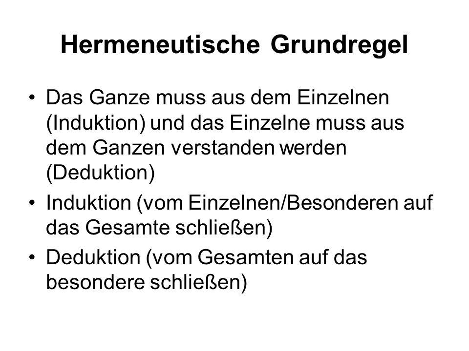Hermeneutische Grundregel Das Ganze muss aus dem Einzelnen (Induktion) und das Einzelne muss aus dem Ganzen verstanden werden (Deduktion) Induktion (v