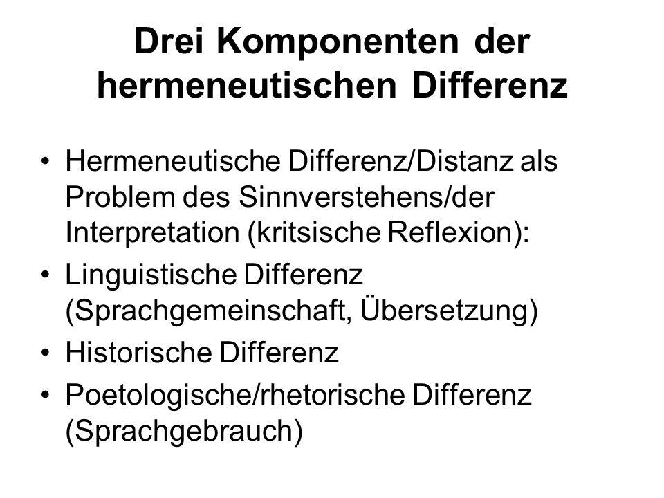 Drei Komponenten der hermeneutischen Differenz Hermeneutische Differenz/Distanz als Problem des Sinnverstehens/der Interpretation (kritsische Reflexio