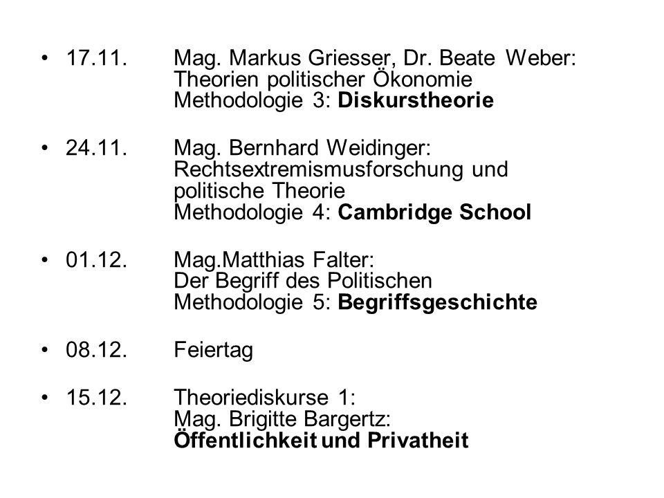 17.11. Mag. Markus Griesser, Dr. Beate Weber: Theorien politischer Ökonomie Methodologie 3: Diskurstheorie 24.11. Mag. Bernhard Weidinger: Rechtsextre