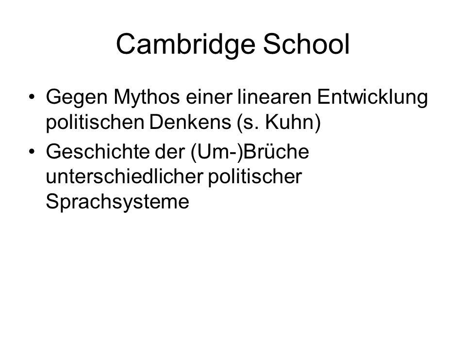 Cambridge School Gegen Mythos einer linearen Entwicklung politischen Denkens (s.