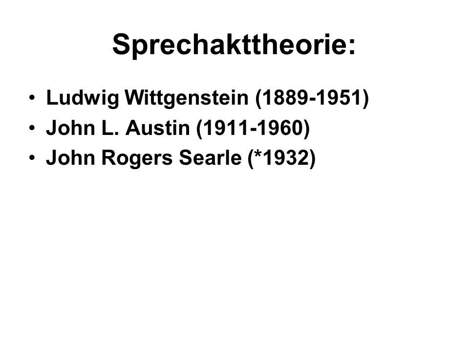 Sprechakttheorie: Ludwig Wittgenstein (1889-1951) John L.