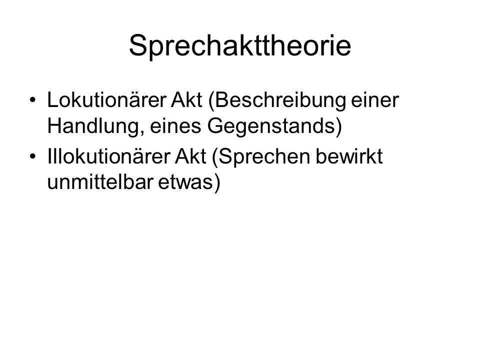 Sprechakttheorie Lokutionärer Akt (Beschreibung einer Handlung, eines Gegenstands) Illokutionärer Akt (Sprechen bewirkt unmittelbar etwas)