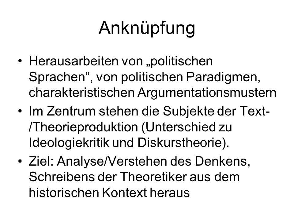 Anknüpfung Herausarbeiten von politischen Sprachen, von politischen Paradigmen, charakteristischen Argumentationsmustern Im Zentrum stehen die Subjekte der Text- /Theorieproduktion (Unterschied zu Ideologiekritik und Diskurstheorie).