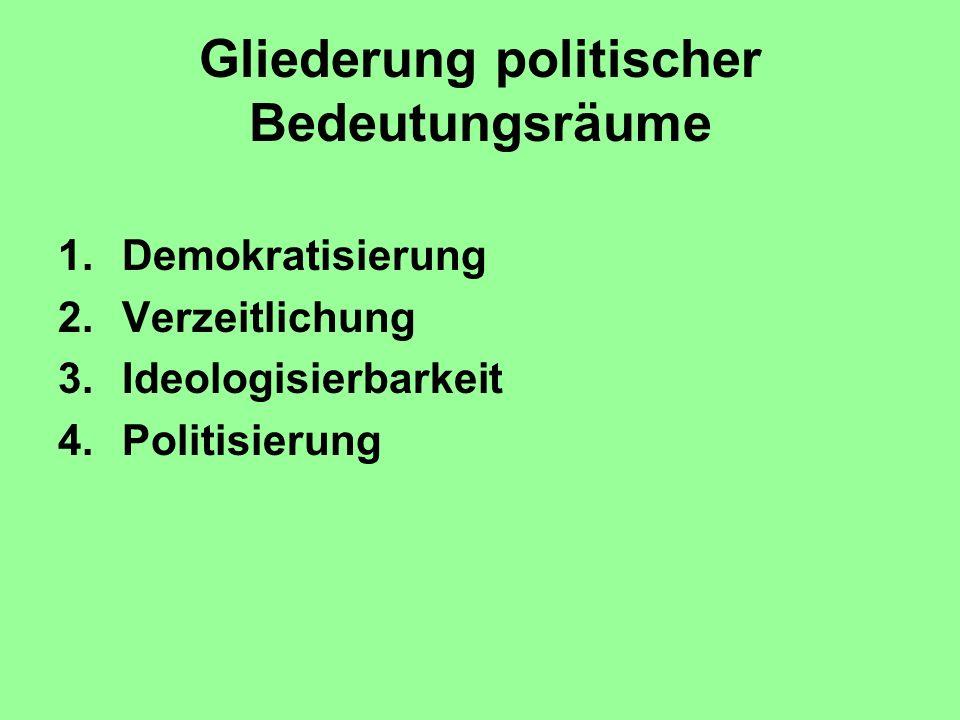 Gliederung politischer Bedeutungsräume 1.Demokratisierung 2.Verzeitlichung 3.Ideologisierbarkeit 4.Politisierung