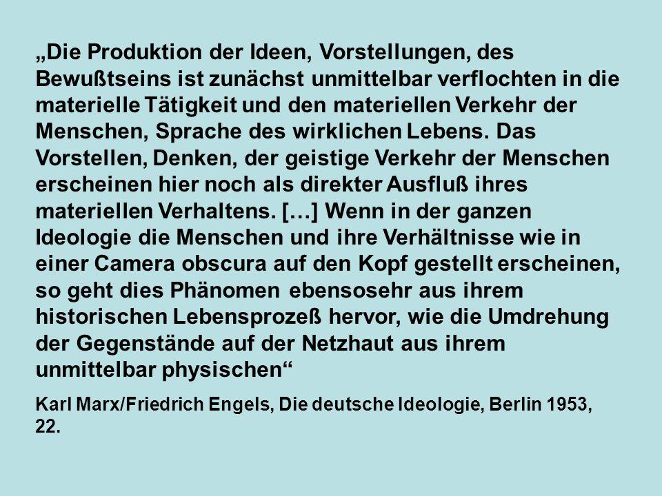 Die Produktion der Ideen, Vorstellungen, des Bewußtseins ist zunächst unmittelbar verflochten in die materielle Tätigkeit und den materiellen Verkehr