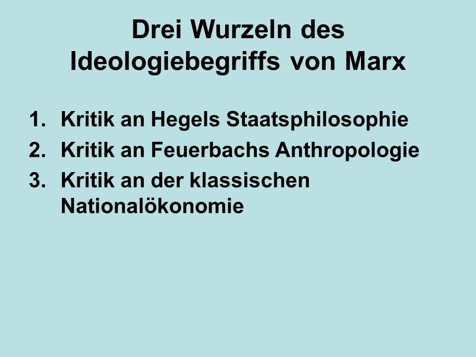 Drei Wurzeln des Ideologiebegriffs von Marx 1.Kritik an Hegels Staatsphilosophie 2.Kritik an Feuerbachs Anthropologie 3.Kritik an der klassischen Nati