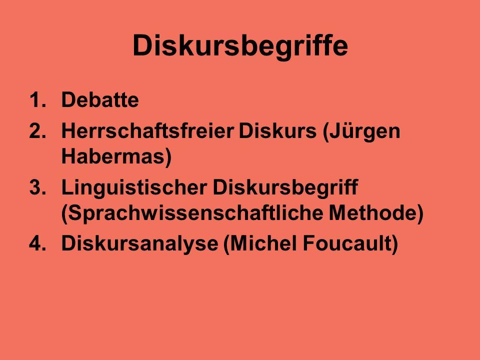 Diskursbegriffe 1.Debatte 2.Herrschaftsfreier Diskurs (Jürgen Habermas) 3.Linguistischer Diskursbegriff (Sprachwissenschaftliche Methode) 4.Diskursanalyse (Michel Foucault)