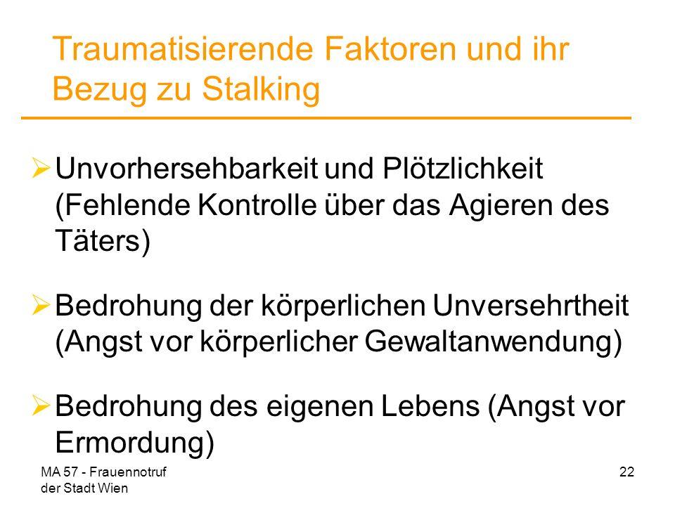 MA 57 - Frauennotruf der Stadt Wien 22 Traumatisierende Faktoren und ihr Bezug zu Stalking Unvorhersehbarkeit und Plötzlichkeit (Fehlende Kontrolle üb
