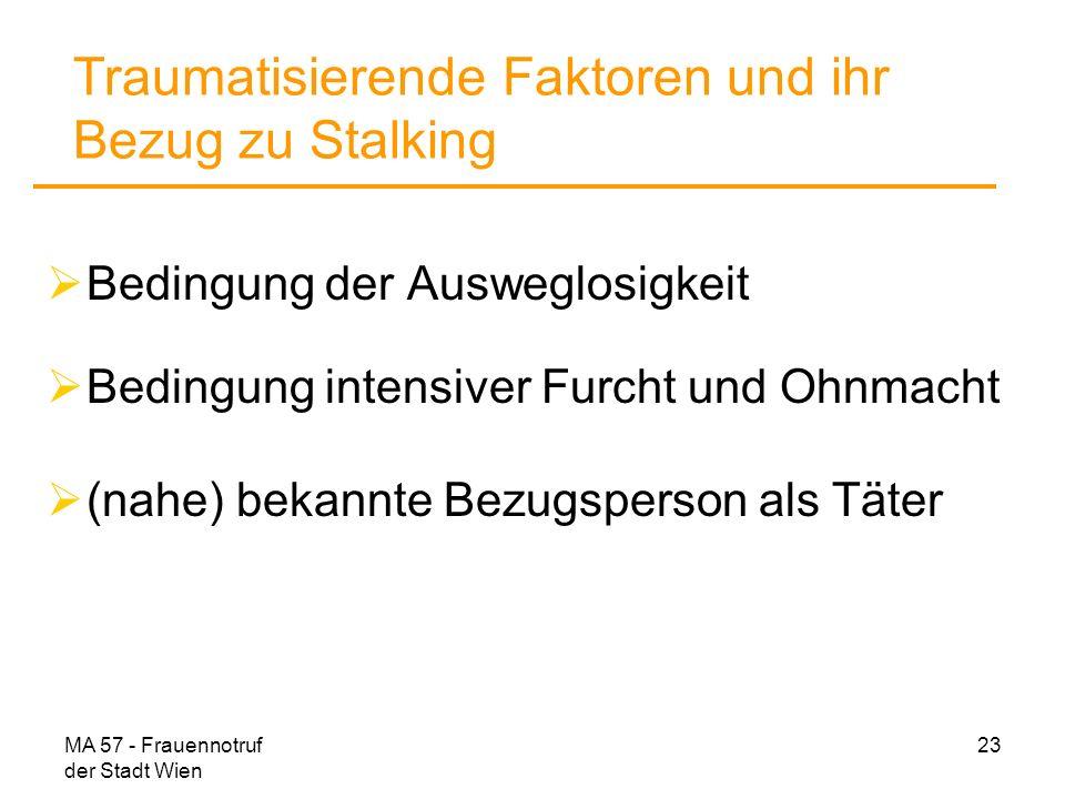 MA 57 - Frauennotruf der Stadt Wien 23 Traumatisierende Faktoren und ihr Bezug zu Stalking Bedingung der Ausweglosigkeit Bedingung intensiver Furcht u