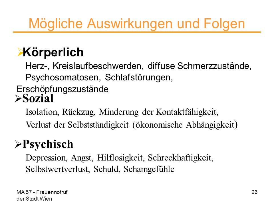 MA 57 - Frauennotruf der Stadt Wien 26 Mögliche Auswirkungen und Folgen Körperlich Herz-, Kreislaufbeschwerden, diffuse Schmerzzustände, Psychosomatos