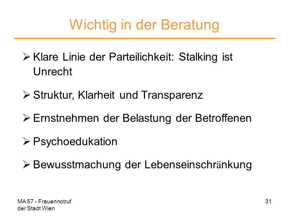 MA 57 - Frauennotruf der Stadt Wien 31 Wichtig in der Beratung Klare Linie der Parteilichkeit: Stalking ist Unrecht Struktur, Klarheit und Transparenz