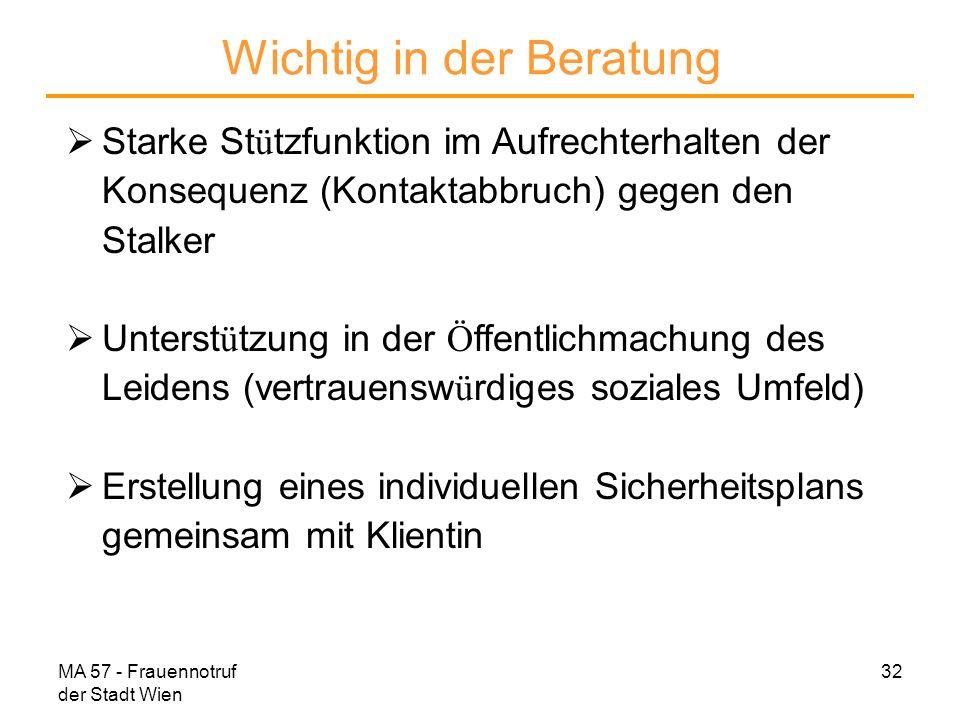 MA 57 - Frauennotruf der Stadt Wien 32 Wichtig in der Beratung Starke St ü tzfunktion im Aufrechterhalten der Konsequenz (Kontaktabbruch) gegen den St