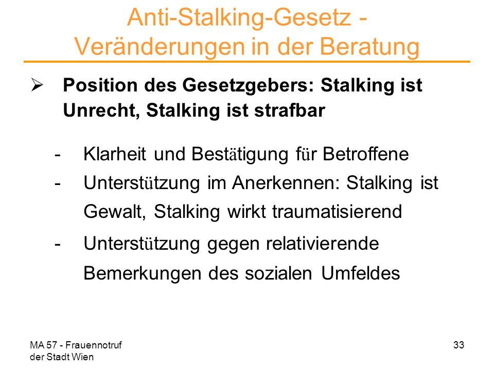 MA 57 - Frauennotruf der Stadt Wien 33 Anti-Stalking-Gesetz - Veränderungen in der Beratung Position des Gesetzgebers: Stalking ist Unrecht, Stalking