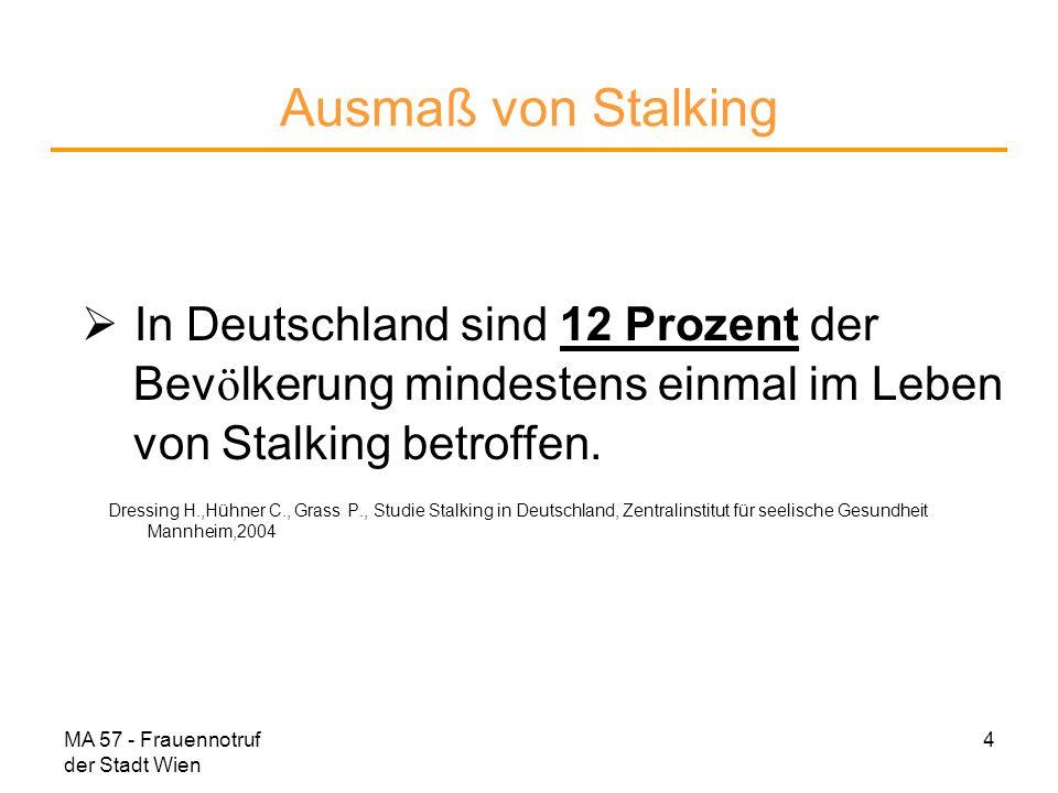 MA 57 - Frauennotruf der Stadt Wien 5 Stalking heißt Trotz ausdrücklichem Wunsch einer Person, in Ruhe gelassen zu werden, sucht und erzwingt der Stalker gegen deren Willen wiederholt und mit verschiedenen Mitteln eine Kontaktaufnahme.