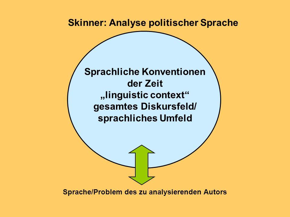 Skinner: Analyse politischer Sprache Sprachliche Konventionen der Zeit linguistic context gesamtes Diskursfeld/ sprachliches Umfeld Sprache/Problem de