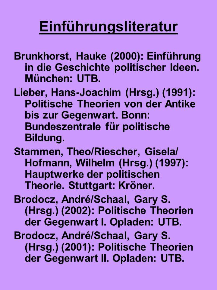Einführungsliteratur Brunkhorst, Hauke (2000): Einführung in die Geschichte politischer Ideen. München: UTB. Lieber, Hans-Joachim (Hrsg.) (1991): Poli