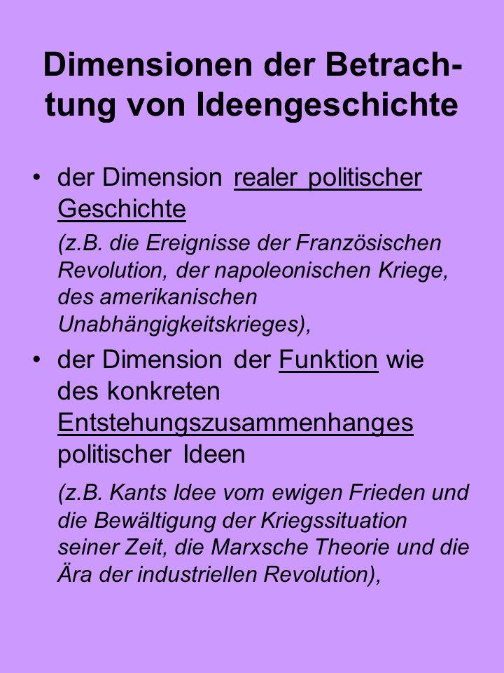 Dimensionen der Betrach- tung von Ideengeschichte der Dimension realer politischer Geschichte (z.B. die Ereignisse der Französischen Revolution, der n