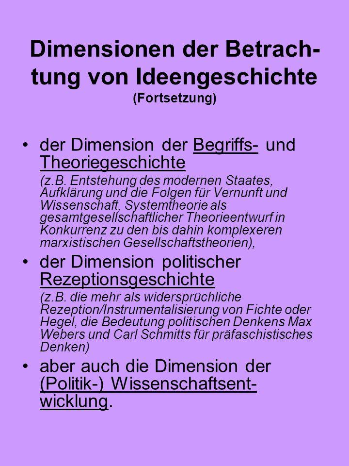 Dimensionen der Betrach- tung von Ideengeschichte (Fortsetzung) der Dimension der Begriffs- und Theoriegeschichte (z.B. Entstehung des modernen Staate