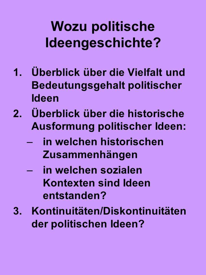 Wozu politische Ideengeschichte? 1.Überblick über die Vielfalt und Bedeutungsgehalt politischer Ideen 2.Überblick über die historische Ausformung poli
