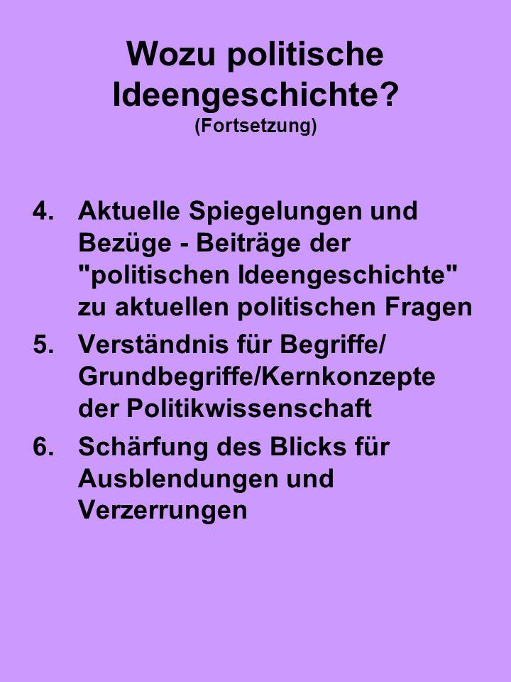 Wozu politische Ideengeschichte? (Fortsetzung) 4.Aktuelle Spiegelungen und Bezüge - Beiträge der