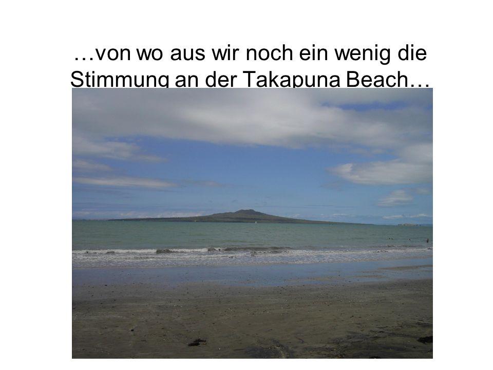 …von wo aus wir noch ein wenig die Stimmung an der Takapuna Beach…