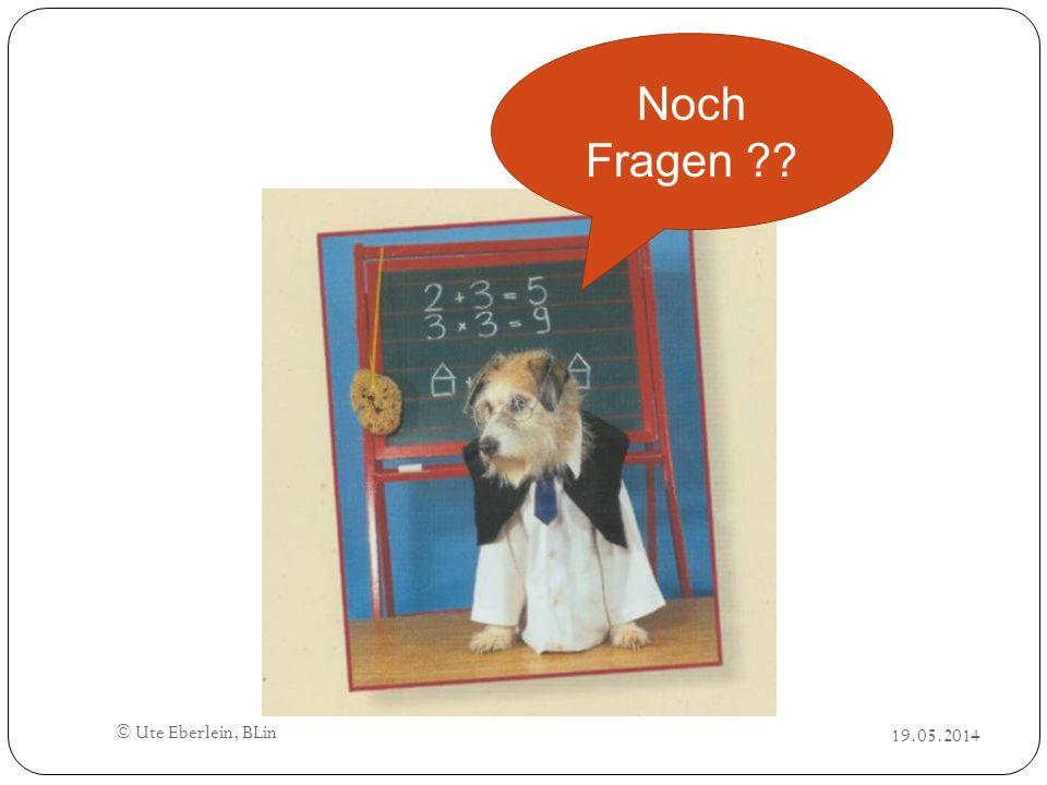 © Ute Eberlein, BLin 19.05.2014 Noch Fragen ??