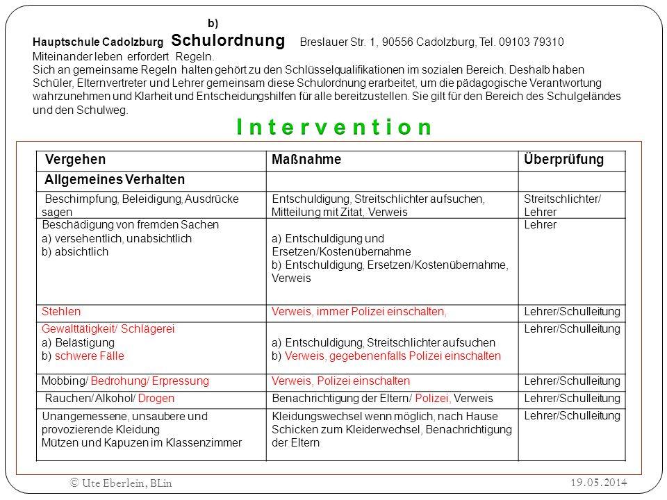 b) Hauptschule Cadolzburg Schulordnung Breslauer Str. 1, 90556 Cadolzburg, Tel. 09103 79310 Miteinander leben erfordert Regeln. Sich an gemeinsame Reg