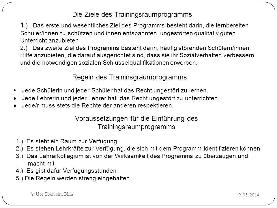 19.05.2014 © Ute Eberlein, BLin Die Ziele des Trainingsraumprogramms 1.) Das erste und wesentliches Ziel des Programms besteht darin, die lernbereiten
