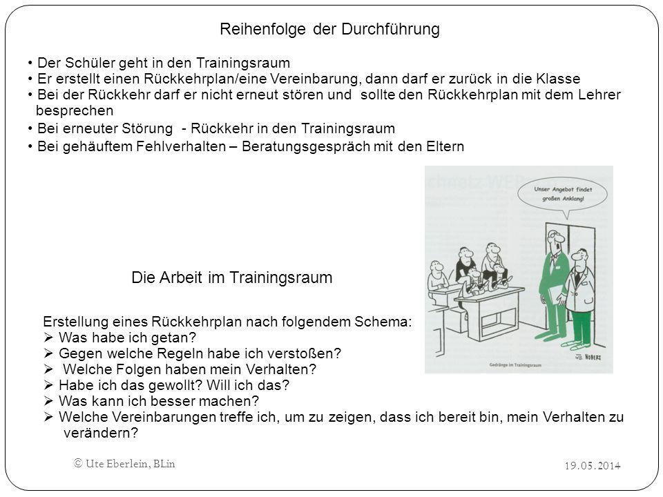 19.05.2014 © Ute Eberlein, BLin Reihenfolge der Durchführung Der Schüler geht in den Trainingsraum Er erstellt einen Rückkehrplan/eine Vereinbarung, d