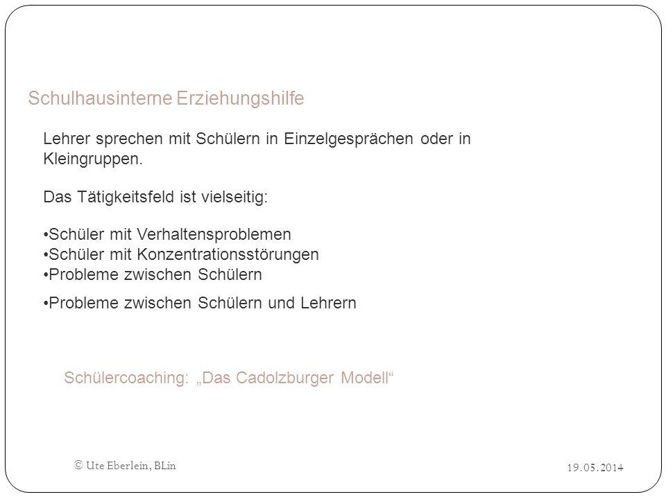© Ute Eberlein, BLin Schulhausinterne Erziehungshilfe Schülercoaching: Das Cadolzburger Modell Lehrer sprechen mit Schülern in Einzelgesprächen oder i