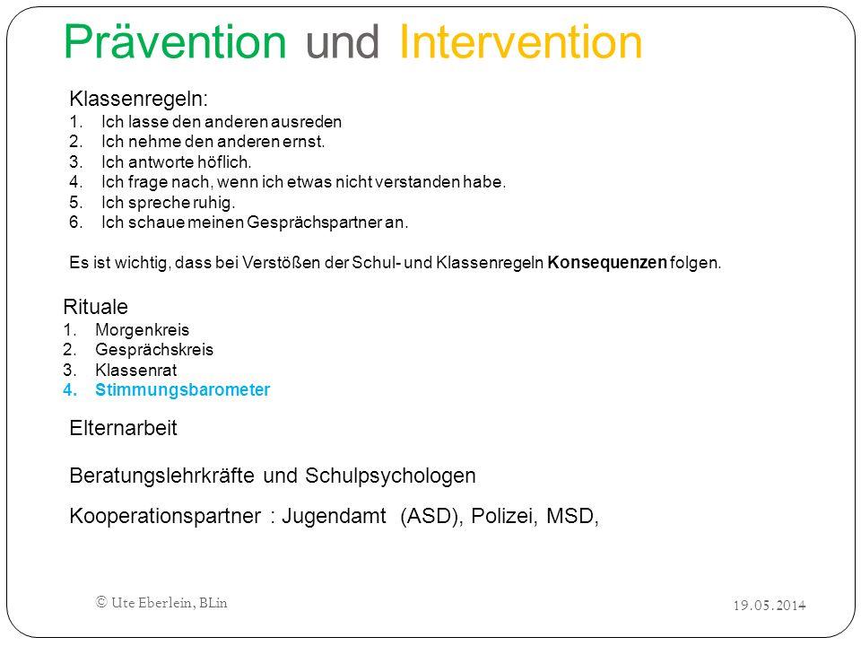 Prävention und Intervention Klassenregeln: 1.Ich lasse den anderen ausreden 2.Ich nehme den anderen ernst. 3.Ich antworte höflich. 4.Ich frage nach, w