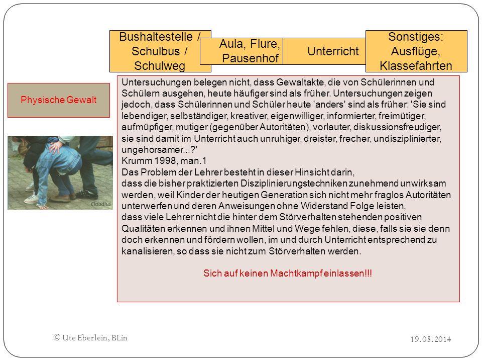 Bushaltestelle / Schulbus / Schulweg Aula, Flure, Pausenhof Unterricht Sonstiges: Ausflüge, Klassefahrten Physische Gewalt Untersuchungen belegen nich