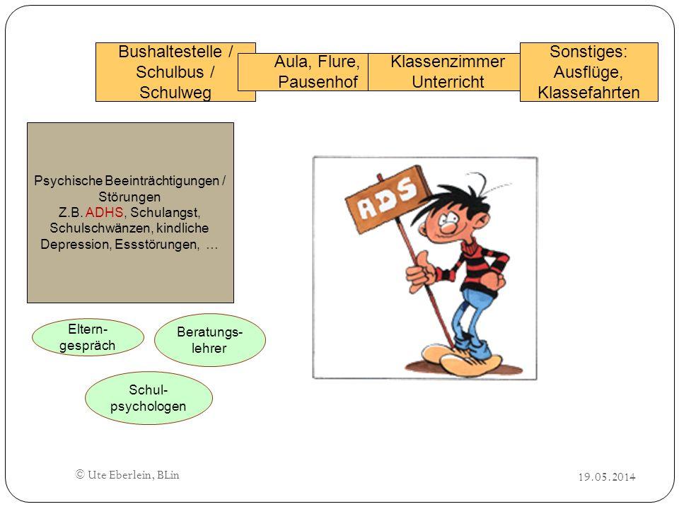 © Ute Eberlein, BLin Bushaltestelle / Schulbus / Schulweg Aula, Flure, Pausenhof Klassenzimmer Unterricht Sonstiges: Ausflüge, Klassefahrten Psychisch
