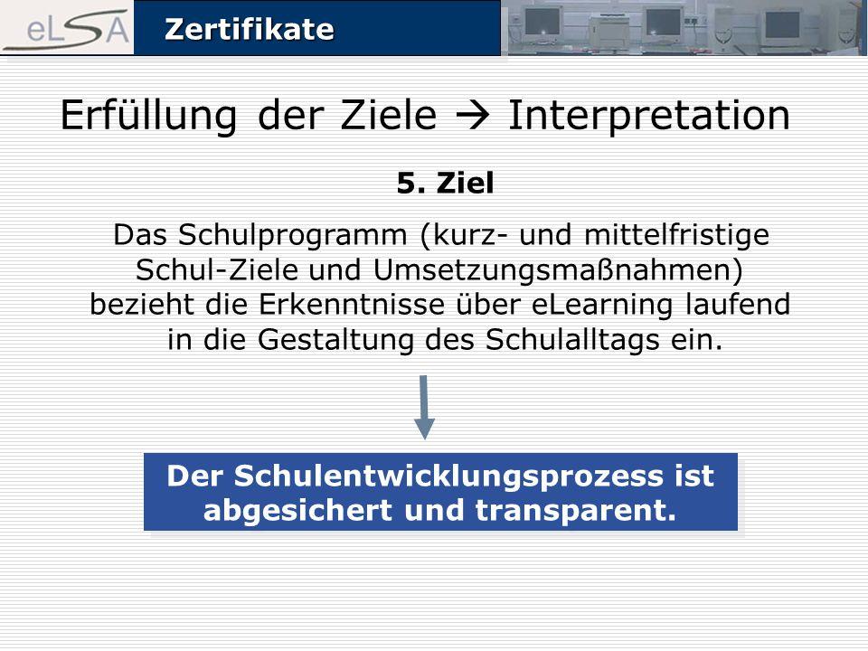 ZertifikateZertifikate 5. Ziel Das Schulprogramm (kurz- und mittelfristige Schul-Ziele und Umsetzungsmaßnahmen) bezieht die Erkenntnisse über eLearnin