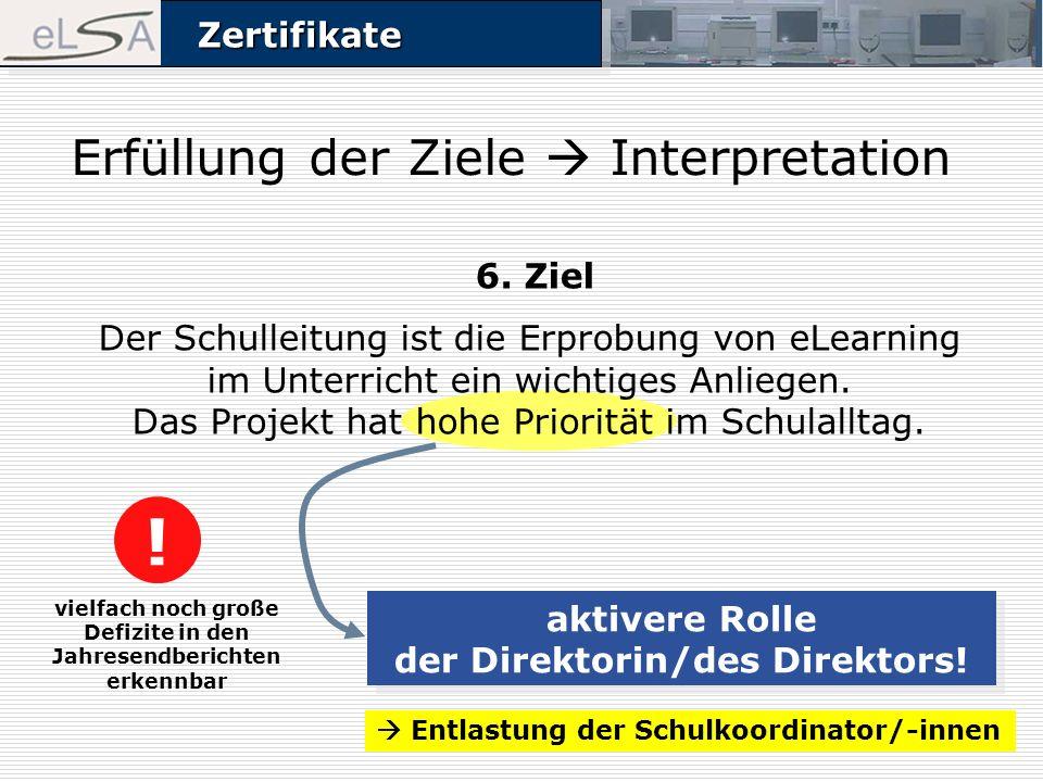 ZertifikateZertifikate Erfüllung der Ziele Interpretation vielfach noch große Defizite in den Jahresendberichten erkennbar aktivere Rolle der Direktorin/des Direktors.