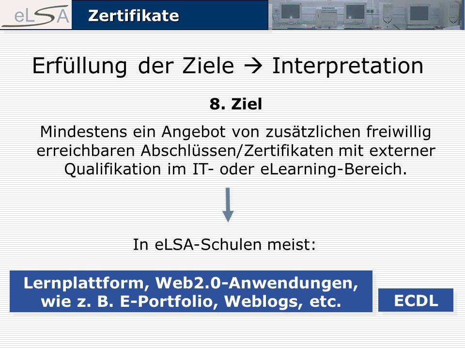 ZertifikateZertifikate Erfüllung der Ziele Interpretation 8. Ziel Mindestens ein Angebot von zusätzlichen freiwillig erreichbaren Abschlüssen/Zertifik