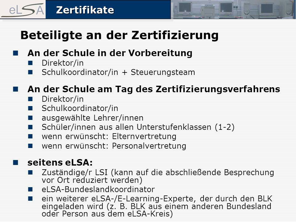 ZertifikateZertifikate Beteiligte an der Zertifizierung An der Schule in der Vorbereitung Direktor/in Schulkoordinator/in + Steuerungsteam An der Schu