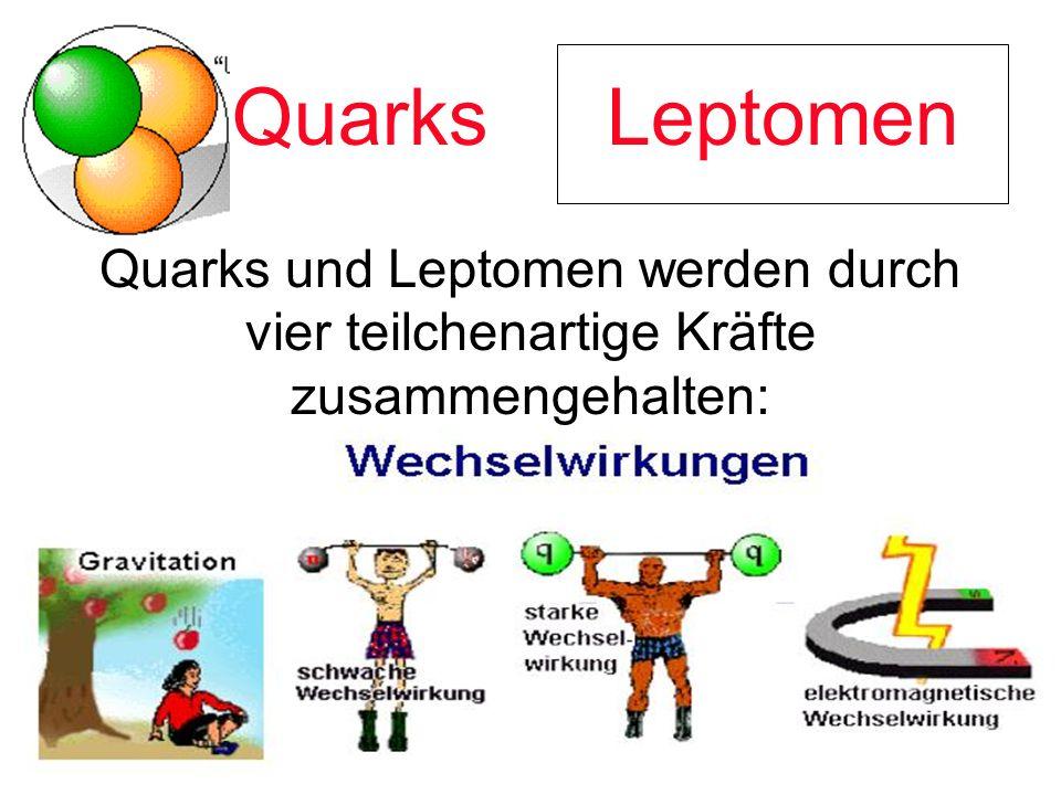 Quarks Quarks und Leptomen werden durch vier teilchenartige Kräfte zusammengehalten: