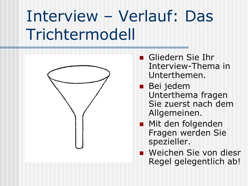Interview – Verlauf: Das Trichtermodell Gliedern Sie Ihr Interview-Thema in Unterthemen.