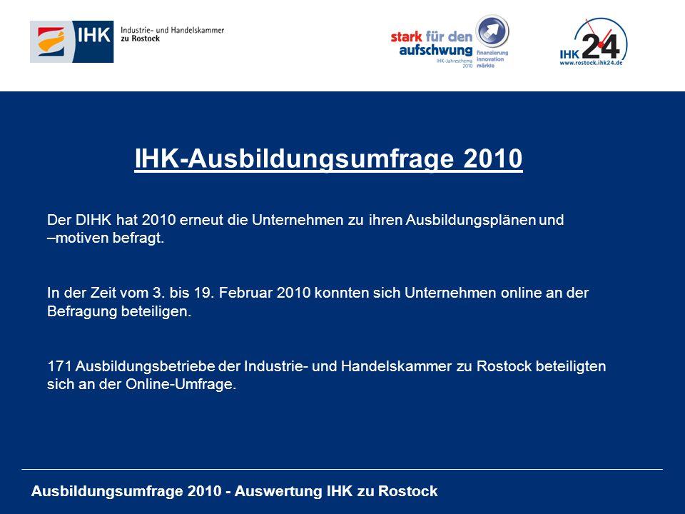 Ausbildungsumfrage 2010 - Auswertung IHK zu Rostock IHK-Ausbildungsumfrage 2010 Der DIHK hat 2010 erneut die Unternehmen zu ihren Ausbildungsplänen und –motiven befragt.