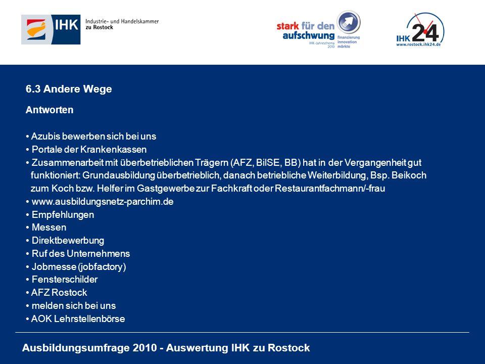 Ausbildungsumfrage 2010 - Auswertung IHK zu Rostock 6.3 Andere Wege Antworten Azubis bewerben sich bei uns Portale der Krankenkassen Zusammenarbeit mit überbetrieblichen Trägern (AFZ, BilSE, BB) hat in der Vergangenheit gut funktioniert: Grundausbildung überbetrieblich, danach betriebliche Weiterbildung, Bsp.