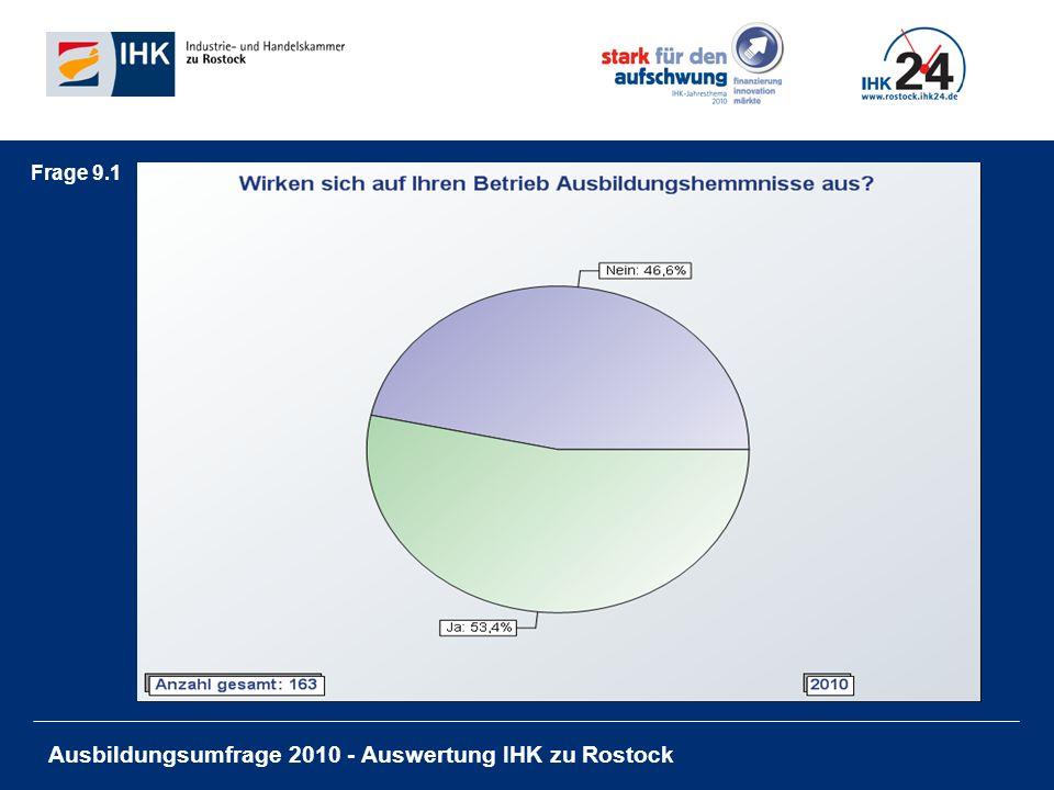 Ausbildungsumfrage 2010 - Auswertung IHK zu Rostock Frage 9.1