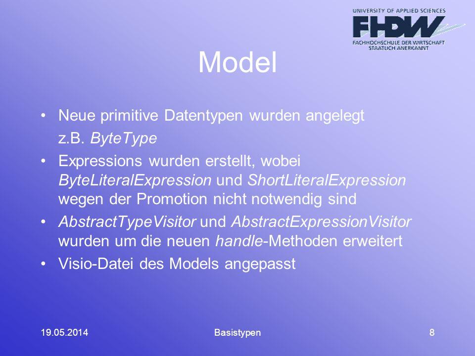 19.05.2014Basistypen8 Model Neue primitive Datentypen wurden angelegt z.B.