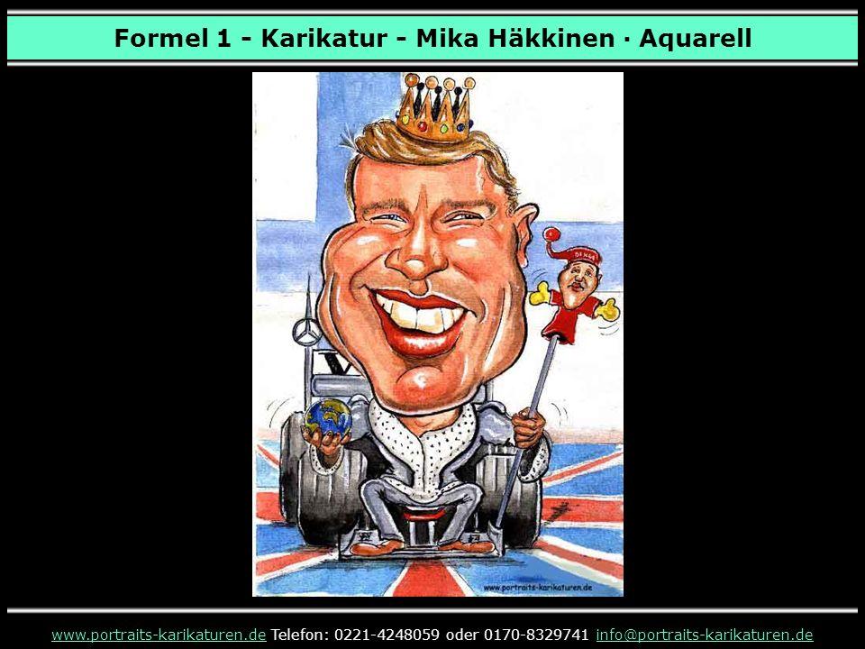 Formel 1 - Karikatur - Mika Häkkinen · Aquarell www.portraits-karikaturen.dewww.portraits-karikaturen.de Telefon: 0221-4248059 oder 0170-8329741 info@