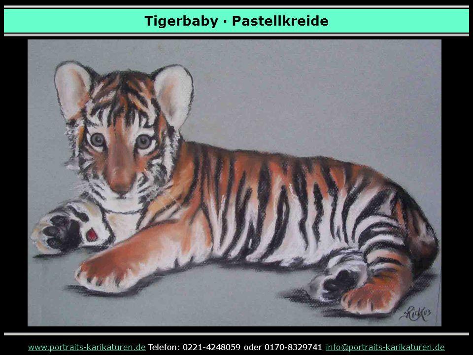 Tigerbaby · Pastellkreide www.portraits-karikaturen.dewww.portraits-karikaturen.de Telefon: 0221-4248059 oder 0170-8329741 info@portraits-karikaturen.deinfo@portraits-karikaturen.de
