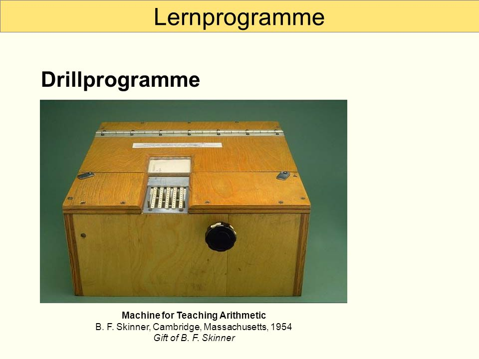 Lernprogramme Drillprogramme Machine for Teaching Arithmetic B.